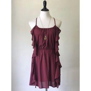 Burgundy Ruffle Dress